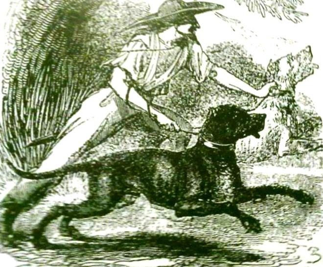 Perro y rancheador/pintura cubana.