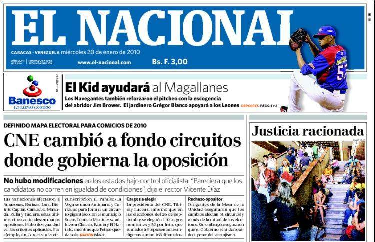 Diario El Nacional, Venezuela. Screen shot.