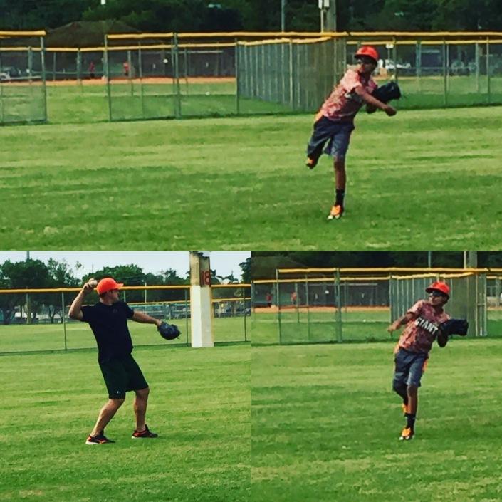 Malcom en una sesión de entrenamiento de pitcheo con el exestelar lanzador cubano Alay Soler.