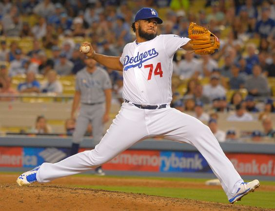 Los Angeles Dodgers relief pitcher Kenley Jansen #74 brings the heat in the 9th inning to get the save. The Los Angeles Dodgers defeated the Tampa Bay Rays 3-2 in Los Angeles, CA. July 26, 2016. (Photo by John McCoy/So Cal News Group)